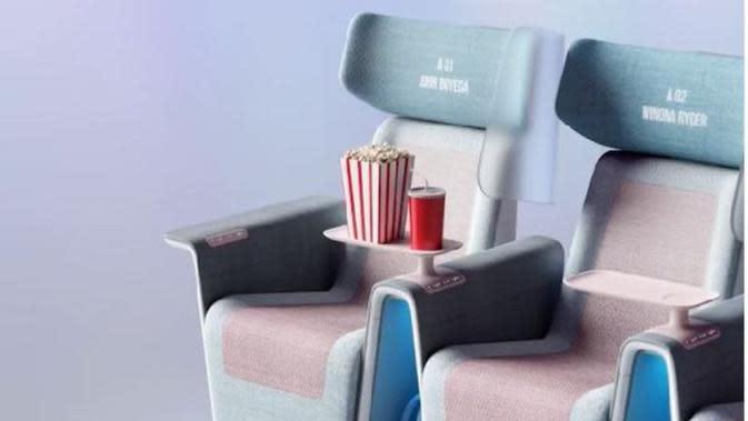 Perusahaan Inggris Rancang Kursi Bioskop yang Diklaim Bisa Cegah Covid-19. (dok.Instagram @layer_design/https://www.instagram.com/p/CElvLkTJrvC/Henry)