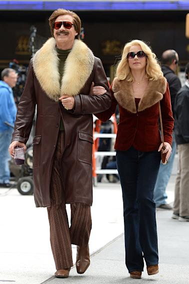 Cast members on location for 'Anchorman: The Legend Continues' in Manhattan