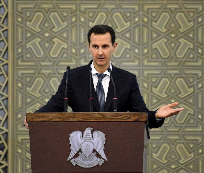 Syria's Assad stops speech due to low blood pressure before resuming - state TV