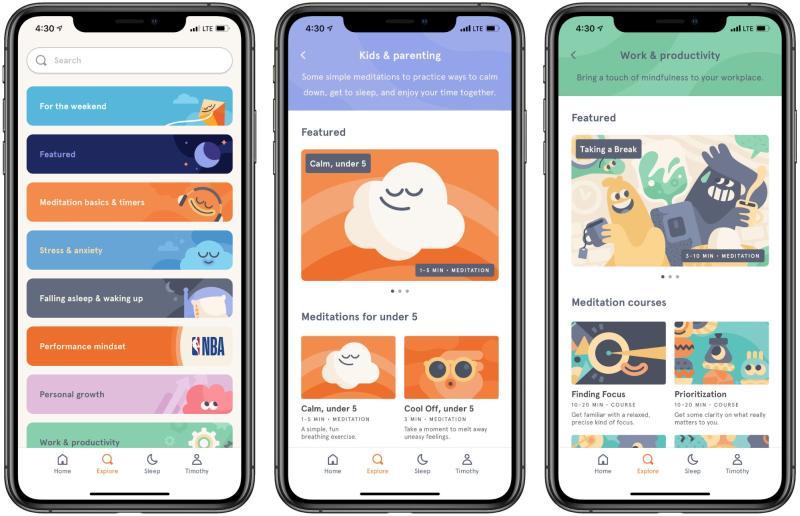 Screenshots of Headspace app.