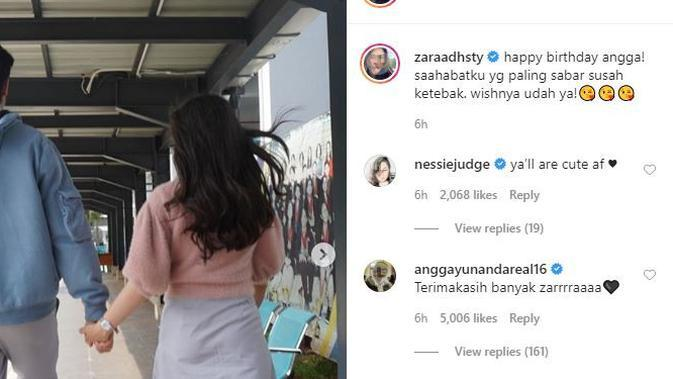 Adhisty Zara ikut rayakan ulang tahun Angga Yunanda. (Instagram.com/zaraadhsty)