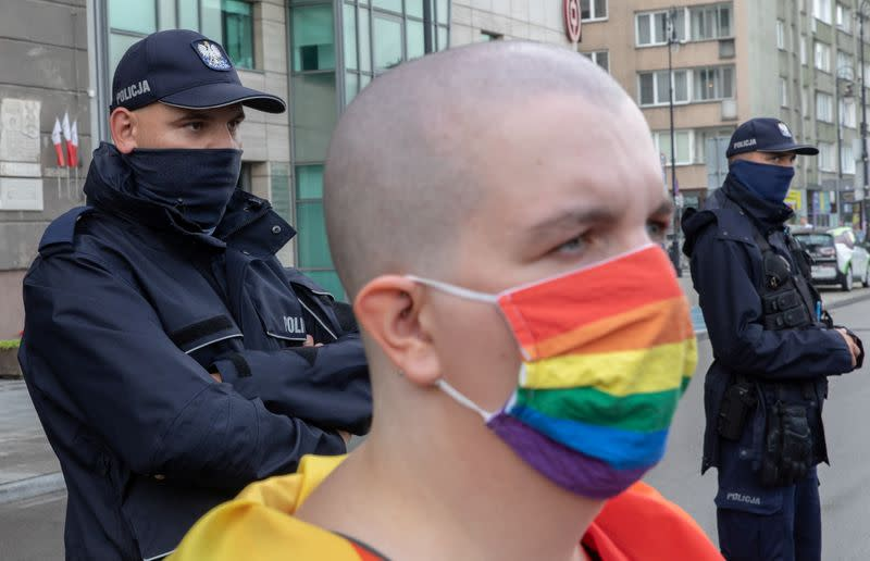 A member of a group supporting LGBT rights protest in Warsaw,