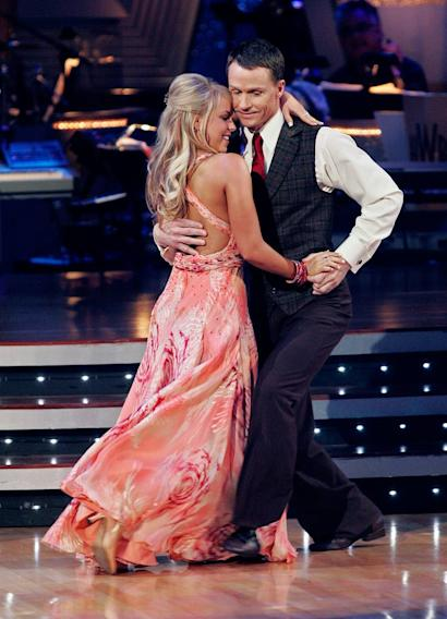 "Ty Murray and Chelsie Hightower perform the Waltz to ""Strawberry Wine"" by Deana Carter on ""Dancing with the Stars."""