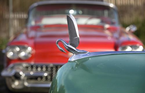 "In this photo taken Monday, Jan. 7, 2013, car collector Chuck Shubb's 1948 Packard Super 8 Touring Sedan's Cormorant hood ornament is seen in Los Angeles. The vintage car is featured in the film, ""Gangster Squad."" To bring the story of mobster Mickey Cohen's reign over post-war Los Angeles to life, the director of ""Gangster Squad"" employed Sean Penn, Josh Brolin, Ryan Gosling and more than 100 irreplaceable vintage American cars. (AP Photo/Damian Dovarganes)"