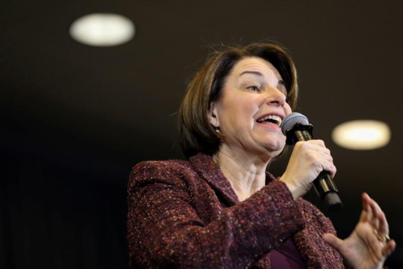 Democratic U.S. presidential candidate Amy Klobuchar speaks at a community college event in Fort Dodge