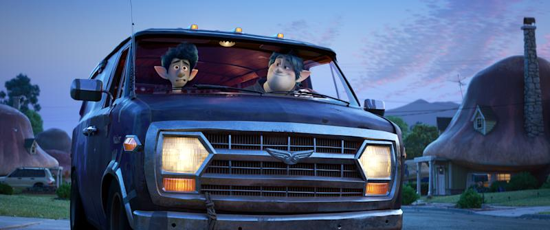 In Disney and Pixar's Onward two teenage elf brothers embark on an extraordinary quest in a van named Guinevere (©2019 Disney/Pixar. All Rights Reserved.)