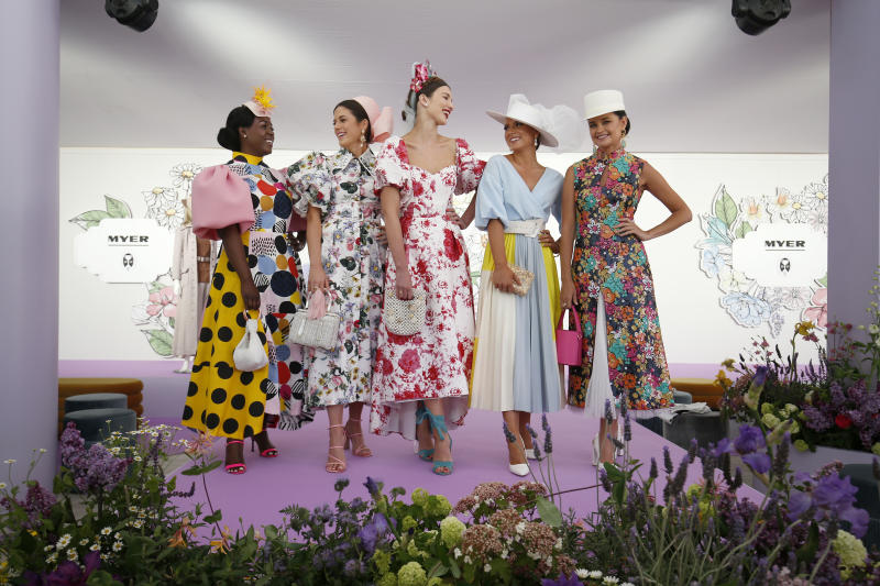 MELBOURNE, AUSTRALIA - OCTOBER 30: 2019 National Finalists of Myer Fashions pose for a photo at Flemington Racecourse on October 30, 2019 in Melbourne, Australia. The Melbourne Cup Carnival begins on Saturday 2 November. (Photo by Darrian Traynor/Getty Images)