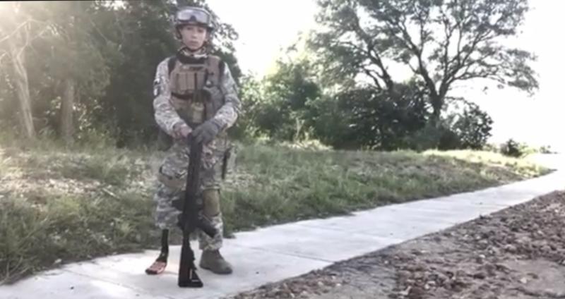 Diego Mercado in his military uniform and Airsoft gun. (Photo: Jason Mercado)