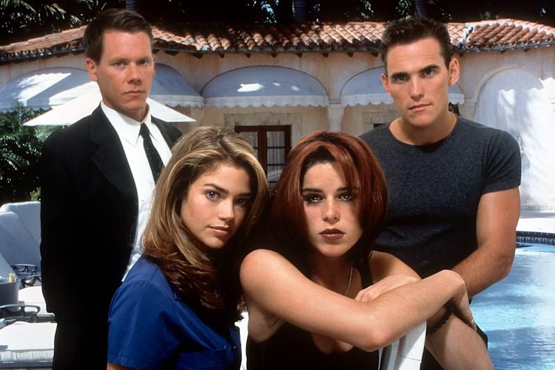 Kevin Bacon, Denise Richards, Neve Campbell and Matt Dillon in publicity portrait for the film 'Wild Things', 1998. (Photo by Columbia Pictures/Getty Images)