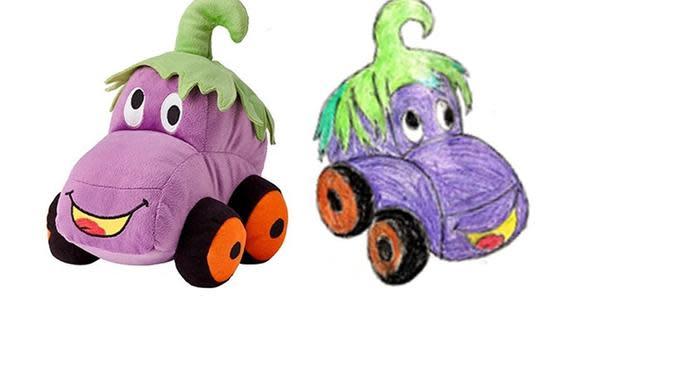EGGPLANT MONSTER CAR dirancang oleh Ayaan, 8 tahun, pemenang kompetisi menggambar boneka oleh IKEA. (dok. IKEA)