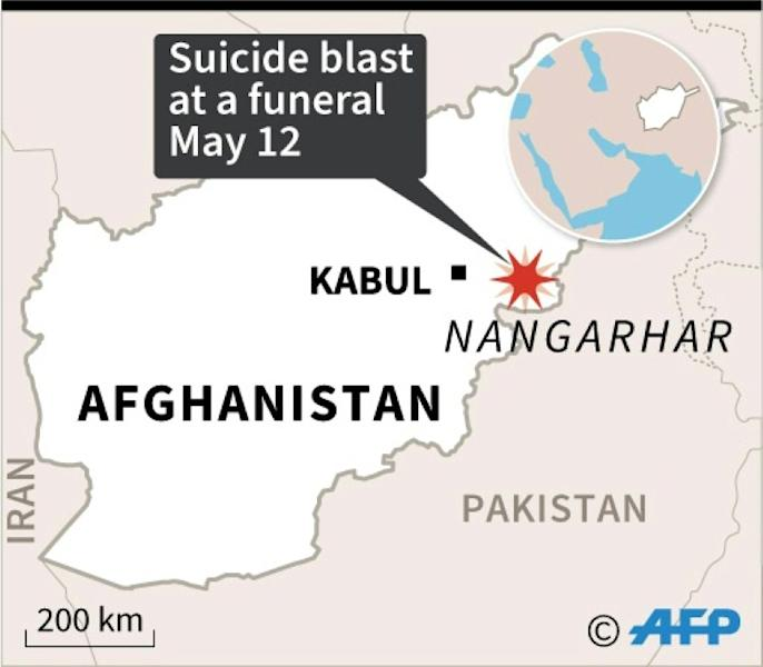 Map of Afghanistan locating Nangarhar province where fatalities were reported on Tuesday after a suicide blast at a funeral
