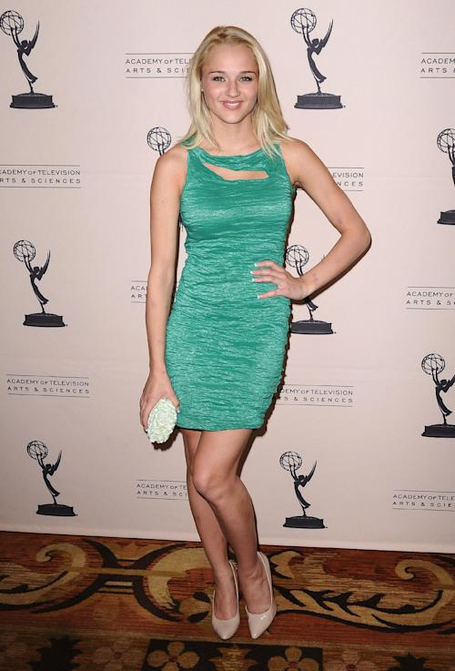 FILE - In this Thursday, June 13, 2013 photo, Hunter King arrives at the 40th Annual Daytime Emmy Awards nominee reception at the Montage Beverly Hills, in Beverly Hills, Calif. The 40th Annual Daytime Emmy Awards are on Sunday, June 16, 2013, in Beverly Hills, Calif. (Photo by Scott Kirkland/Invision/AP, File)