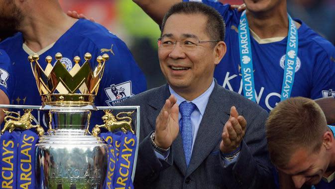 Pemilik klub sepak bola Leicester City, Vichai Srivaddhanaprabha, meninggal dalam kecelakaan helikopter, 27 Oktober 2018 (AP/Matt Dunham)