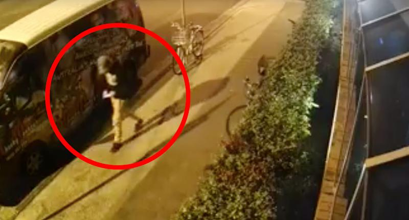 CCTV shows Theo Hayez leaving Cheeky Monkey's bar in Byron Bay.