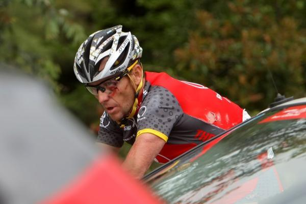 Lance Armstrong (Radioshack) probably felt like he'd been in a bar fight by day's end, but in fact it was from an early crash on stage five.