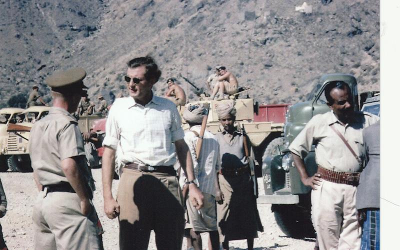 James Nash, in white shirt, on the Dhala Road. 1964