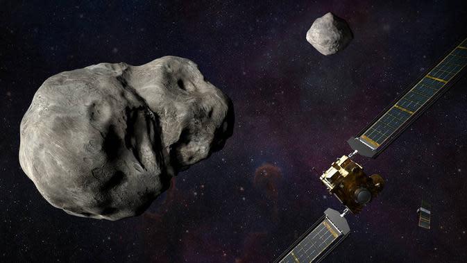 Ilustrasi pesawat ruang angkasa DART NASA dan LICIACube Badan Antariksa Italia (ASI) sebelum menabrak asteroid Didymos. (NASA / Johns Hopkins APL / Steve Gribben)