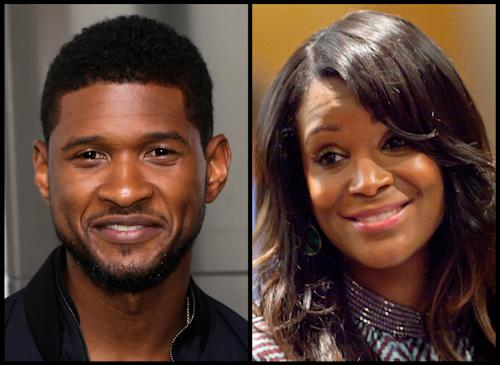 In this photo combo, R&B singer Usher, left, poses for a picture after a ceremonial lighting of the Empire State Building in New York, Wednesday, July 3, 2013; and at right, Usher's ex-wife Tameka Foster Raymond looks on during a recess in court for a custody fight involving their two sons Tuesday, May 22, 2012, in Atlanta. A judge in Atlanta is set to hear about a child custody battle between Usher and Raymond. Fulton County Superior Court Judge John Goger set the hearing for Friday, Aug. 9, 2013. Raymond requested the hearing earlier in the week after the former couple's son got caught in a pool drain while in the care of the Grammy winner's aunt. (AP Photo/Seth Wenig, David Goldman)