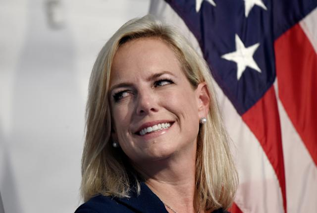 Homeland Security Secretary Kirstjen Nielsen participates in a the U.S. Coast Guard Change-of-Command Ceremony on June 1, 2018.  (Handout via Getty Images)