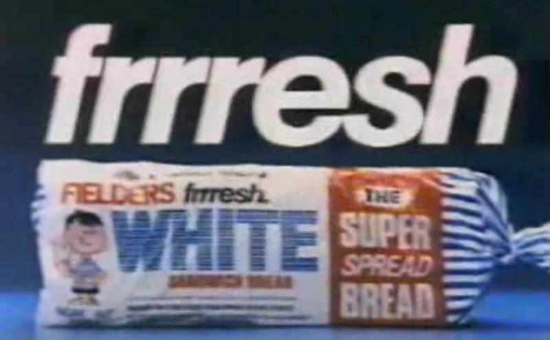 The plastic wrapper was used to encase Fielders Fresh white bread. Pictured is a still from its commercial in 1986. Source: Youtube/GrubcoTV3