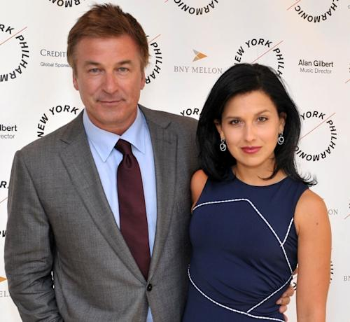Alec Baldwin and Hilaria Thomas attend the 2012 New York Philharmonic Spring gala at Avery Fisher Hall Grand Promenade in New York City on March 26, 2012 -- Getty Premium