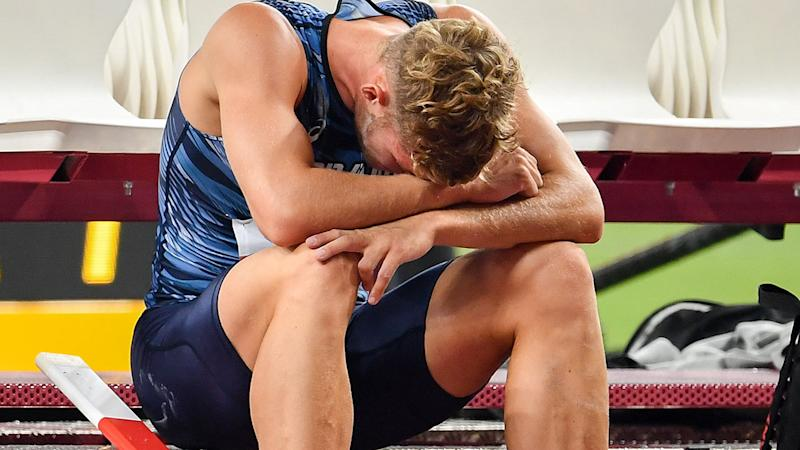 Kevin Mayer, pictured here after his heartbreaking withdrawal.