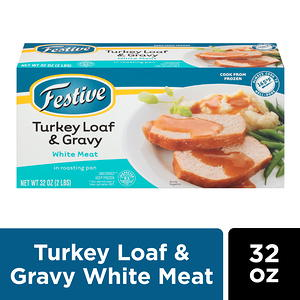 Festive White Meat Turkey Loaf & Gravy in Roasting Pan, 32 Ounce
