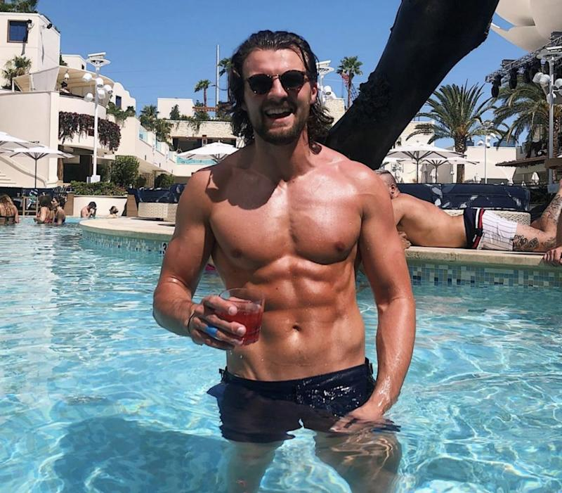 A photo of Love Island star Eoghan Murphy shirtless in the pool.