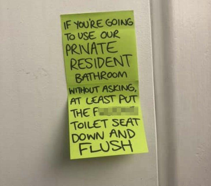 A note that Ms Hart left the workers using her toilet. Source: Supplied