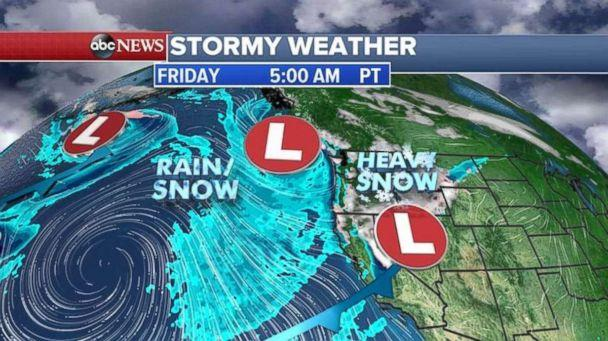 The first pair of storms are already impacting the West Coast on Friday. (ABC News)