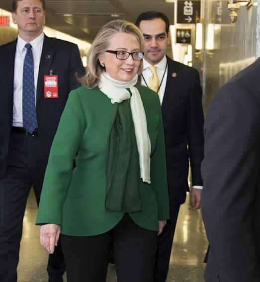 Secretary of State Hillary Rodham Clinton arrives  on Capitol Hill in Washington, Wednesday, Jan. 23, 2013, to testify before the Senate Foreign Relations Committee hearing on the September 11th attacks against the U.S. mission in Benghazi, Libya.   (AP Photo/Manuel Balce Ceneta)
