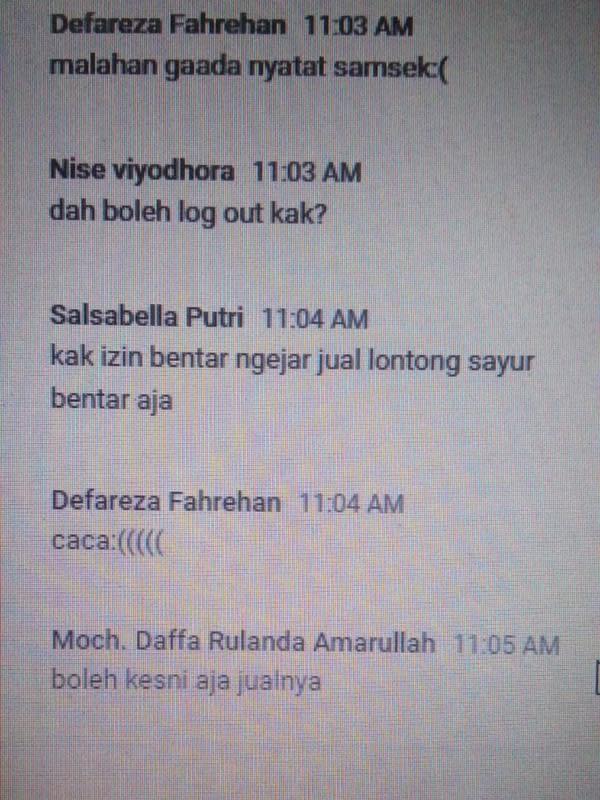 Chat izin off camera para maba yang bikin ketawa geli. (Sumber: Twitter/@qoueenbee)