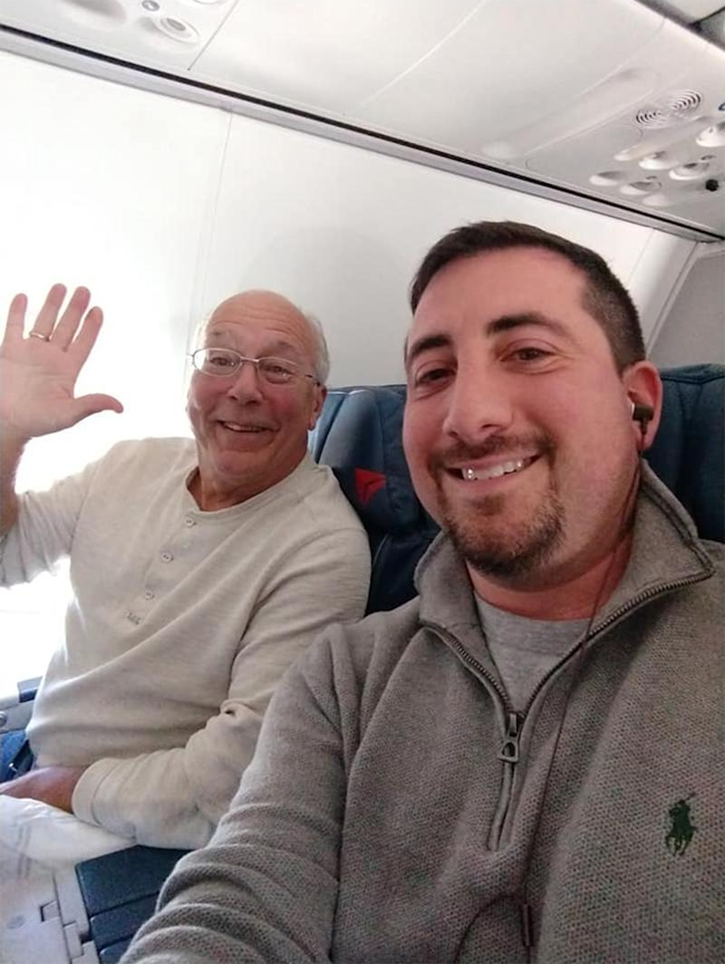 Christmas flights: Devoted Dad Hal Vaughan (left) with passenger Mike Levy (right).