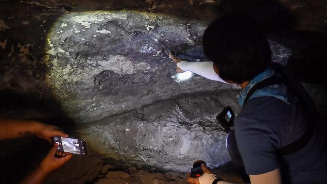 Arkeolog dari Departemen Seni Rupa di Ratchaburi melihat lukisan gua yang baru ditemukan di taman nasional Khao Sam Roi Yot di pesisir provinsi Prachuap Kiri Khan (10/9/2020). Antelop, sosok kesepian, keluarga yang saling bergandengan tangan. (AFP/Lillian Suwanrumpha)