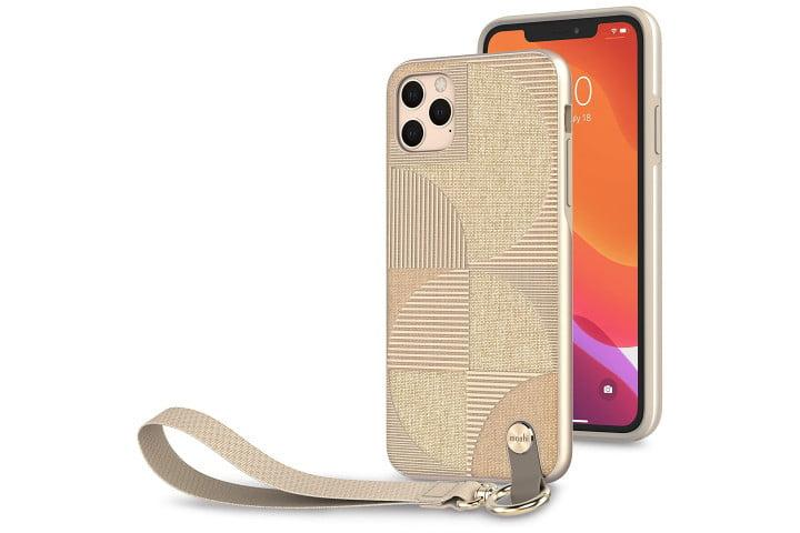 Photo shows the front and back view of an iPhone 11 Pro in an Altra SnapTo case from Moshi in a metallic beige color