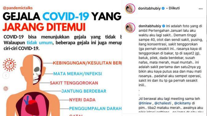 Donita mengalami demam tinggi hingga 40 derajat. (instagram.com/donitahubiy)