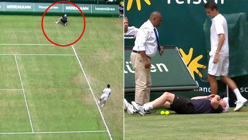 The ballboy went down injured. Image: Tennis TV