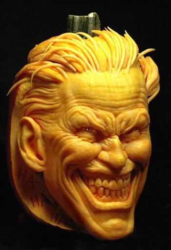 DC Comics' Joker comes to life in an eye-popping pumpkin sculpture