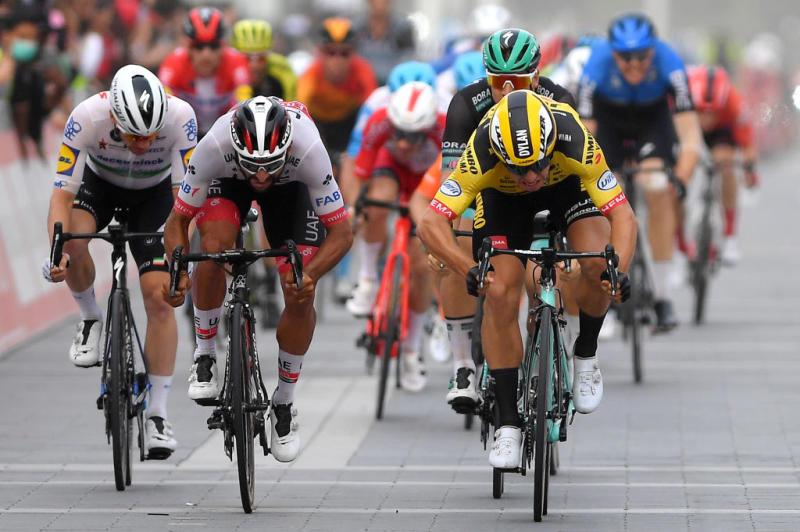 Dylan Groenewegen (Jumbo-Visma) beats UAE Team Emirates' Fernando Gaviria to win stage 4 of the 2020 UAE Tour