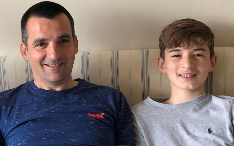 Nick Herbert, creator of the ReplyASAP app, with his 14-year-old son Ben - PA