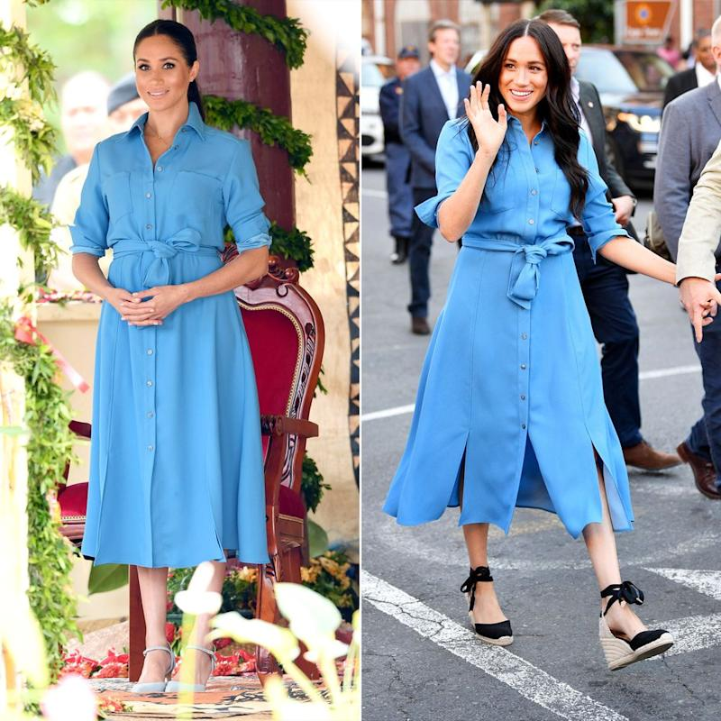 Meghan Markle in 2018 and 2019 | Karwai Tang/WireImage; Tim Rooke/Shutterstock