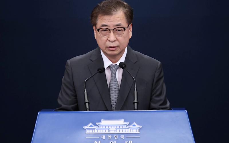 Suh Hoon, South Korea's National Security Council Chairman, read out the letter sent by Mr Kim - Lee Jin-wook/Yonhap