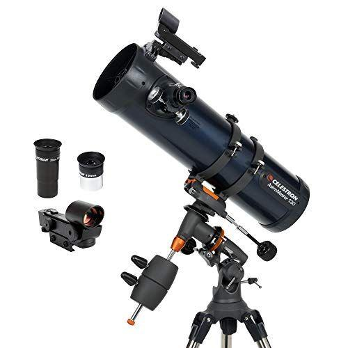 """<p><strong>Celestron</strong></p><p>amazon.com</p><p><strong>$279.95</strong></p><p><a href=""""https://www.amazon.com/dp/B000MLL6RS?tag=syn-yahoo-20&ascsubtag=%5Bartid%7C10055.g.33608427%5Bsrc%7Cyahoo-us"""" target=""""_blank"""">Shop Now</a></p><p>This reflector telescope is popular for <strong>super clear images of planets, likely thanks to the 114mm aperture</strong>. With excellent accessories included, such as two eyepieces, a tripod, a downloadable astrology software program, and a StarPointer red dot finderscope, this telescope is ready to go out of the box. Reviewers love the clarity on this telescope for the $250 price point.</p>"""