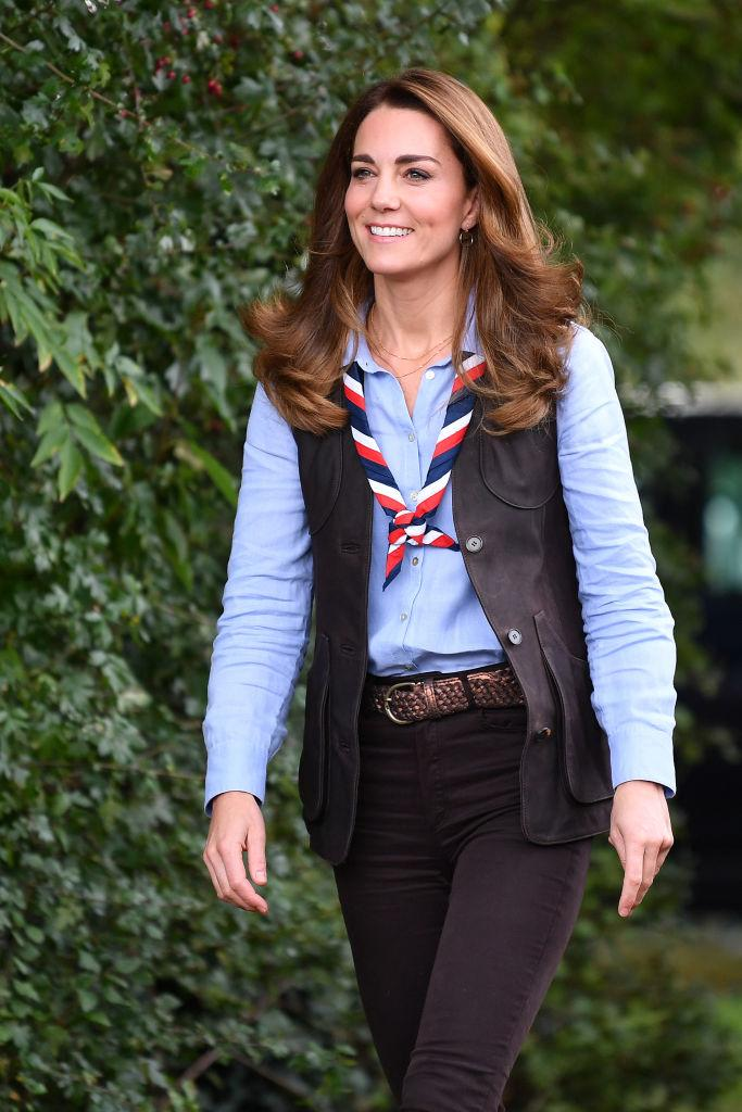 The Duchess of Cambridge arrives to visit a Scout Group in Northolt, northwest London. (Photo by Daniel Leal-Olivas - WPA Pool/Getty Images)