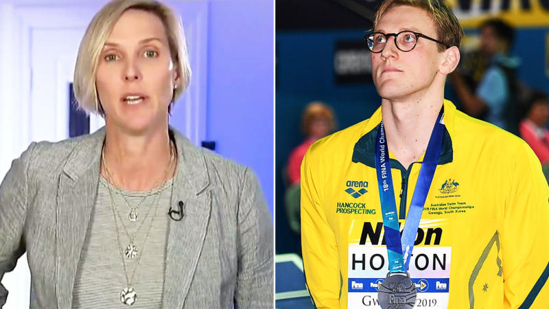 Susie O'Neill has come out in support of Mack Horton over his podium protest. Image: Channel 10/Getty