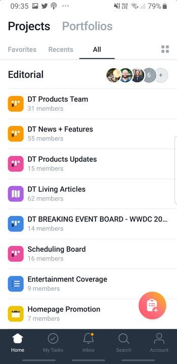 Screenshot of the Asana app for Android showing the Projects board