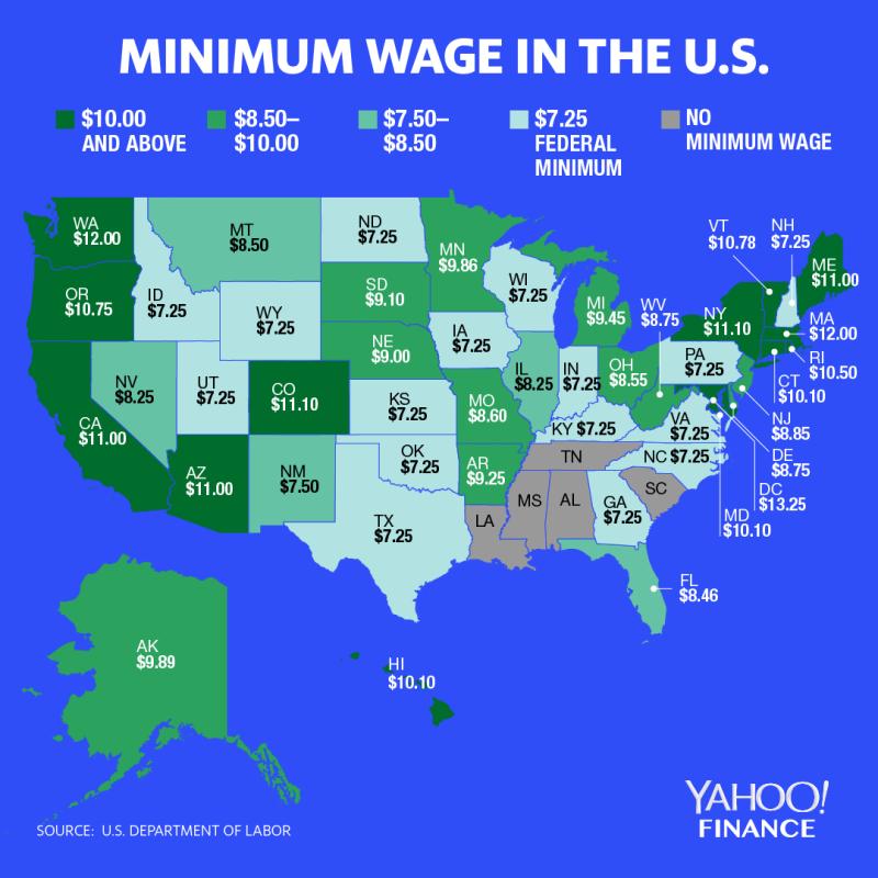Minimum wage varies across the U.S. (Graphic: David Foster/Yahoo Finance)