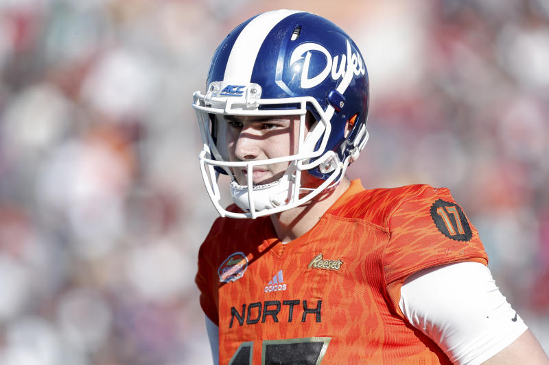 Daniel Jones had an up-and-down week at the 2019 Reese's Senior Bowl. (Getty Images)