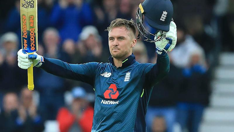 Jason Roy celebrates his century. (Photo by LINDSEY PARNABY/AFP/Getty Images)
