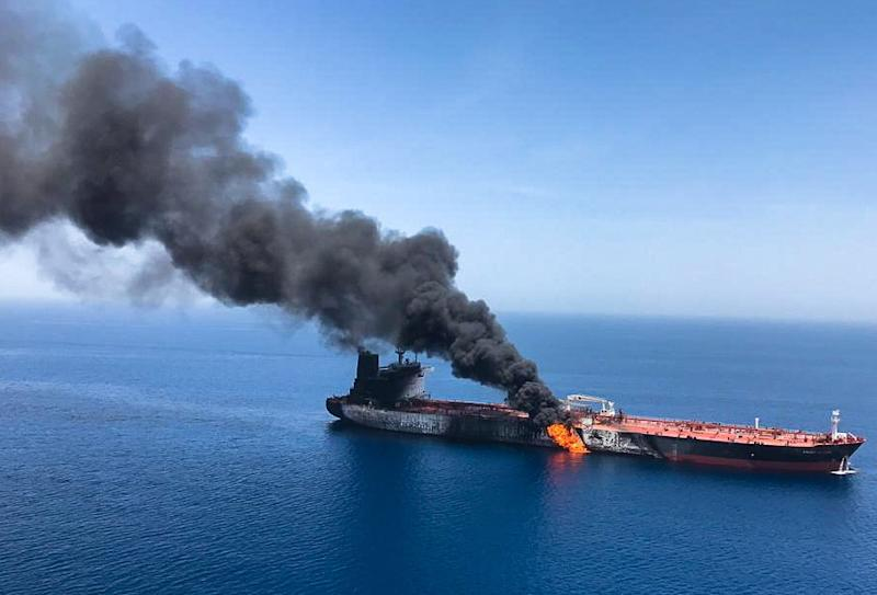 The crude oil tanker Front Altair on fire in the Gulf of Oman, 13 June 2019. Source: Stringer/AAP